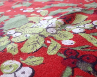 Vintage 60's Holly and Mistletoe Fabric