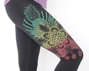 Fruit Mandala Yoga Leggings - Gold/Red/Green print - Boho. Citrus, Durian, Pitaya, Pineapple leggings. Bohemian leggings. Geometric. Vegan.