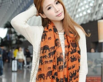 Orange Elephant Scarf Shawl Animal Scarf Winter Women Fashion Accessories Valentine Gift For Her Girlfriend Gifts Wife - Free Shipping!