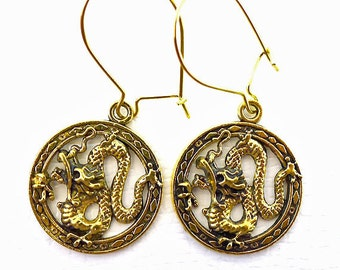 Gold Dragon Earrings - Everyday Fantasy Dragon Dangle Earrings - Antiqued Gold Dragon Charm Earrings on Kidney Earwires
