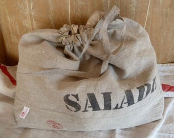 Bag lined with organic cotton natural linen salad.