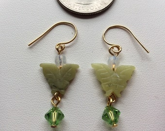 Carved Serpentine earrings + Swarovski Crystal