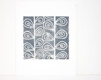 Gray Art Garden Stems Gray Modern Art Linocut Print of garden stems 8x10 Printmaking