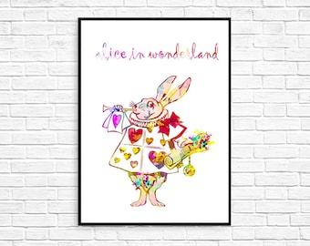 ALICE IN WONDERLAND Rabbit Watercolor Print Painting Poster