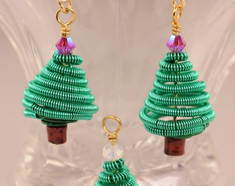 Coiled Wire Christmas Tree Earrings
