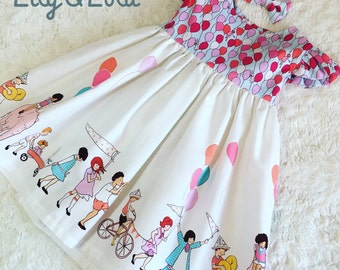 Handmade Dress in Belle and Boo inspired fabric by Michael Miller
