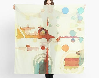 Abstract Art Scarf, Modern Scarf, Women's Scarf, Lightweight Scarf, Wearable Art, Watercolor Scarf, Orange, Yellow, Blue, Sheer Scarf