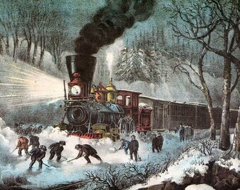 Pack of five Christmas Cards 19th century railways in snow