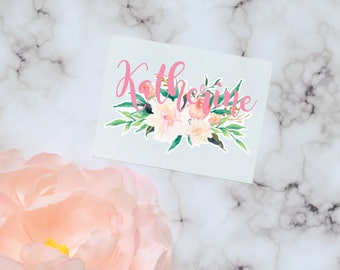 White Peony Floral Monogram Decal, Watercolor Flowers, Flower decal, Tumbler Decal, Watercolor Peonies, Printed Decal