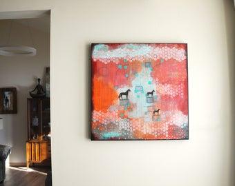 Horse Artwork on Canvas- Modern Farmhouse Wall Art, Modern Abstract Animal Paintings