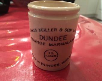 Extremely Rare 1 1/2 ounce Dundee Orange Marmalade Crock
