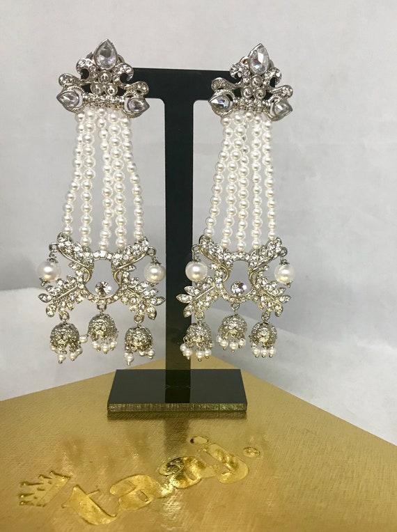 Radha Silver zirconia ivory pearl strand 3 jhumka earrings
