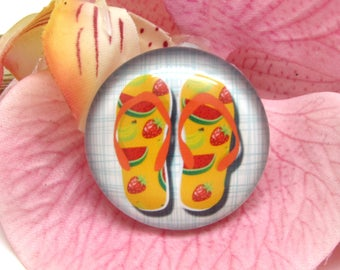 1 cabochon 25 mm glass flip flops Beach 1-25 mm