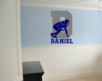 "Football Wall Decal with Initial and Personalized Name - 33"" Tall x 23"" Wide"