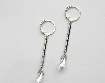 Crystal bridal earrings, Wedding crystal earrings, Aurora borealis jewelry, Drop rhinestones earrings Bridesmaids earrings Bridal jewelry AB