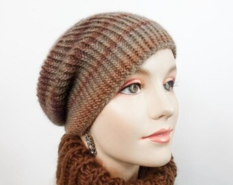 Hand Knit Hat, Slouchy Warm Cap, Softly Striped in Tan and Rust  Size Adult Sm/Med - Item 1293