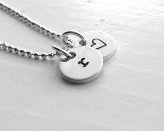 Initial Necklace, Letter r Necklace, Tiny Heart Necklace, Personalized Jewelry, Sterling Silver Jewelry, Charm Necklace, All Letters, r