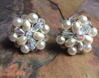 Vintage cluster clip on earrings with pearls and AB beads