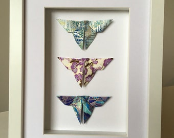 Papillons en Origami encadrée