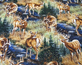 Stony Brook Scenic Deer fabric~by the yard~Springs Creative~Wild Wings~Cabin~Lodge~Wildlife~Country