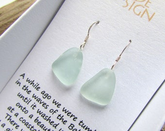 Sterling Silver Earrings with Natural Sea Glass in a Gift Box, Turquoise Blue Mermaid Earrings, Beach Style Jewelry, Petite Silver Earrings