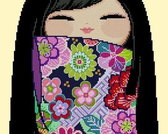 Happy Kokeshi Doll 06 MAAYA - Cross Stitch PDF Pattern