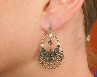 Sterling Silver hoop earrings with black glass and silver fringe