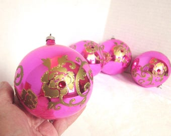 Vintage Christmas Pink Glass Ornaments Gold Roses Made in Austria Set of 4