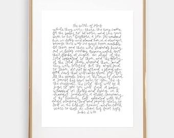 CHRISTMAS JESUS' birth printable // scripture hand lettered -- holiday print 11x14