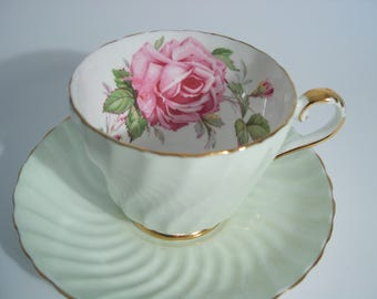 Aynsley Tea Cup and Saucer,  Aynsley Large Pink Rose tea cup and saucer, Swirled Mint Green tea cup and saucer with pink roses.