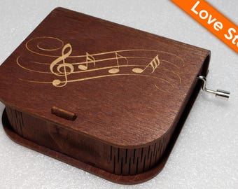 """Engraved Wooden Music Box  """"Love Story"""" - Hand Crank Movement"""