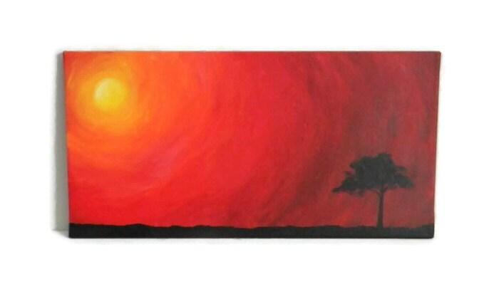 Simple Sunset Original Acrylic Painting 12X24