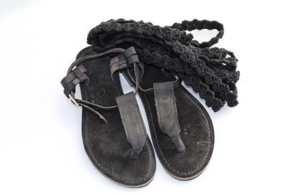 in style black summer Unique up sandals lacy lace gFwz1S