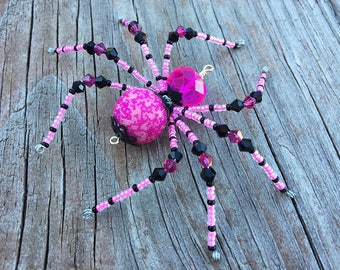Grim beaded skull spider halloween christmas red and black kali beaded spider halloween christmas hot pink and black glass goth sun catcher halloween decoration christmas ornament mightylinksfo