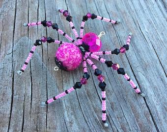 Zarek beaded spider halloween christmas black red and gold kali beaded spider halloween christmas hot pink and black glass goth sun catcher halloween mightylinksfo