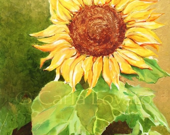 Sunflower painting, Flower painting, Landscape, garden art, Oil Painting, 8 x 10 Giclee Print, home decor, floral painting, wall Art, Yellow