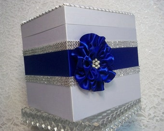 Wishing Well Box, Wedding Card Box, Gift Card Box, Wedding Money Box, Royal Blue, White, Quinceanera Money Box, Rhinestone Mesh Trim