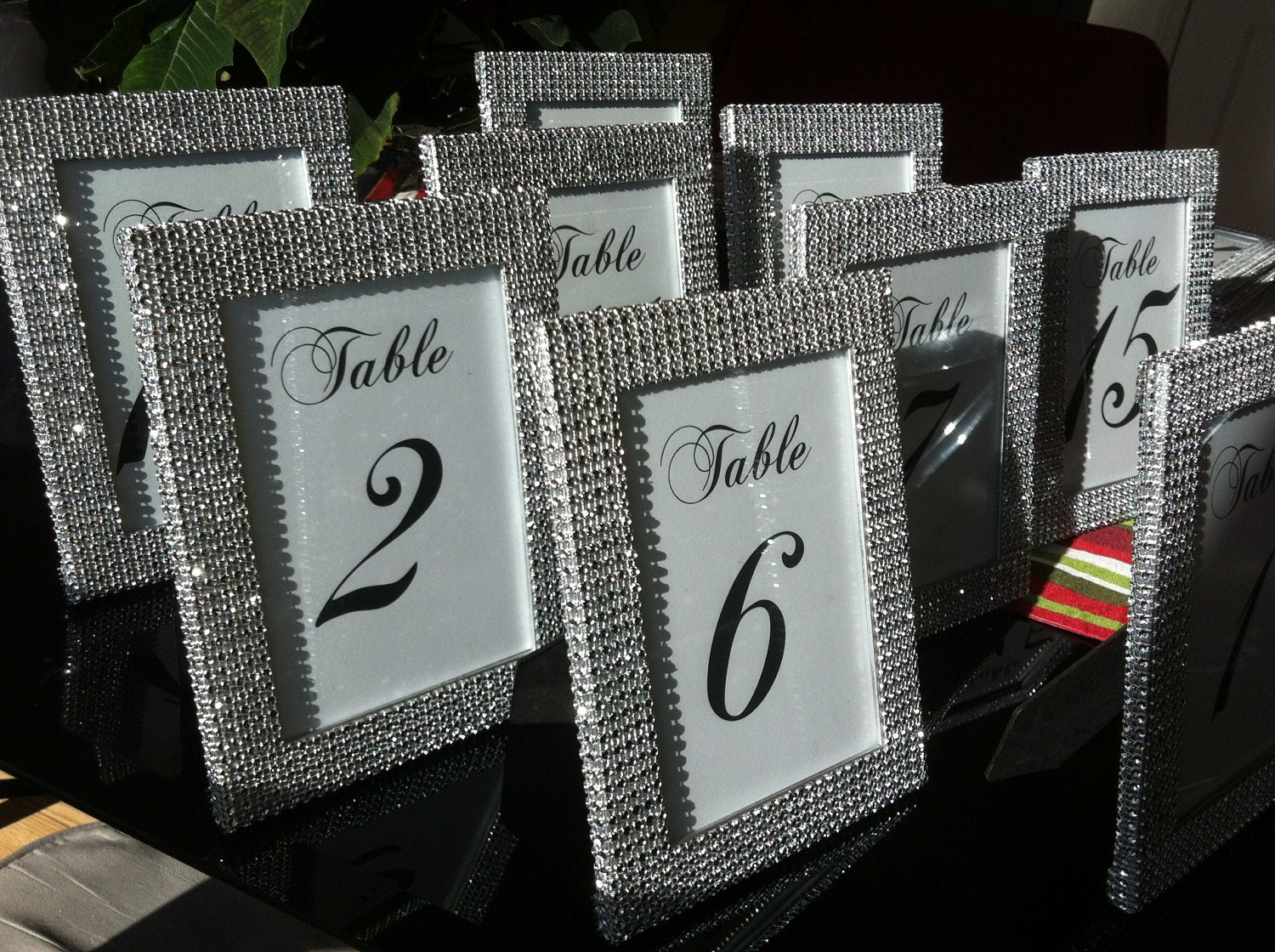 Set of 14 5 x 7 Frames in Silver Rhinestone and 14 Table