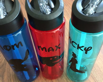 Disney character or Disney cruise line water bottle great FE gift or party favor large 22 fl oz with silver glitter lettering and design