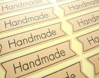 36 x Kraft Paper 'Handmade' Stickers 5 x 1.3 cm