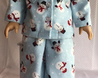 "SNOWMAN FLANNEL PAJAMAS Fits American Girl and My Other 18"" Doll"