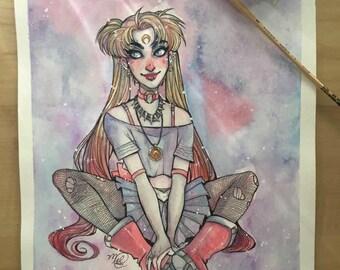 Dark Usagi Original Watercolor