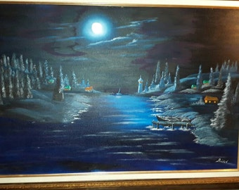 The oil painting, landscape, night, Moon 24 x 36