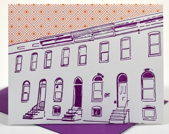 Baltimore Letterpress Card | Row House | purple & orange single blank card with envelope