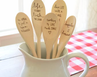 Custom Kitchen Spoons | Personalised Kitchen Gifts | Wood Burned Spoons | Housewarming and Wedding Gifts