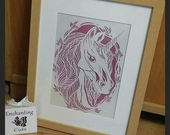 Unicorn Papercut - A4 Framed handcut, magical, gift, rainbow, mystical, unicorn handcraft,