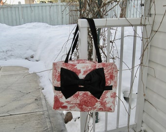 Pink Print Tote Bag with Black Bow