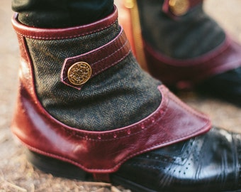 Men's Steampunk spats -oxblood leather and wool herringbone-Ambrose