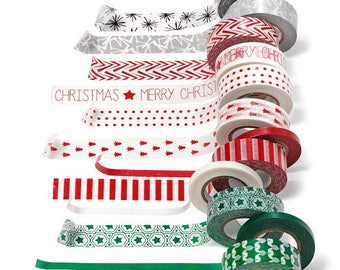Washi Paper - Masking Tape set of 12 x 12 m - winter-Christmas print