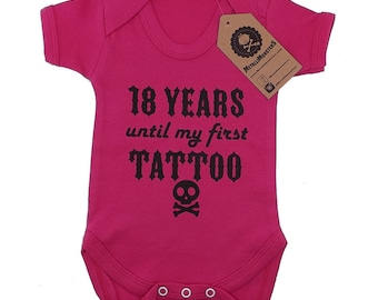 18 years until my first tattoo Pink printed baby vest alternative goth rock